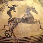 Céramique ornée d'un motif de char